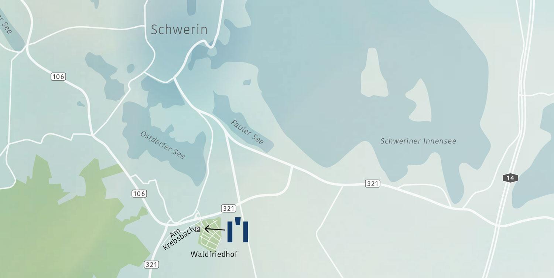 Urnenhain Schwerin Lageplan